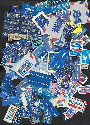 Air mail Par Avion  labels  & cut offs  big lot hoard