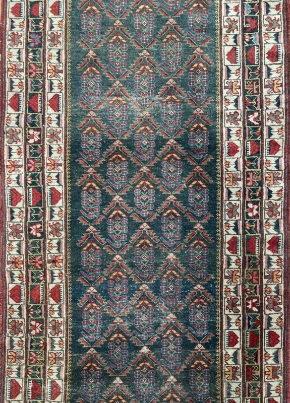 Classic Caucasian - 1880s Antique Kazak Runner - Tribal Oriental Rug 3.4 X 13.6