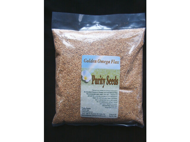 Purity Seeds Whole Golden Omega Flax  Seed, linseed, Omega 3, 2 lb bag-non GMO