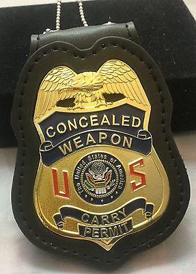 CONCEALED WEAPON Badge & holder Belt Clip 2.75 Inch  GOLD Plating Red US