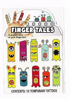 - Finger tales alien monsters finger puppets temporary tattoos new