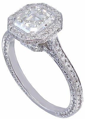 GIA H-VS2 14K White Gold Asscher Cut Diamond Engagement Ring Bezel 2.25ctw 7