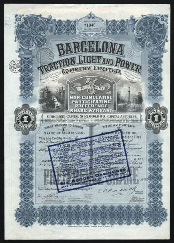 1925 Canada: Barcelona Traction Light and Power Company - $100 in Gold