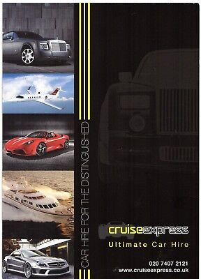 Cruise Express Ultimate Car Hire Late 2000s UK Market Foldout Sales Brochure - Express Hiring
