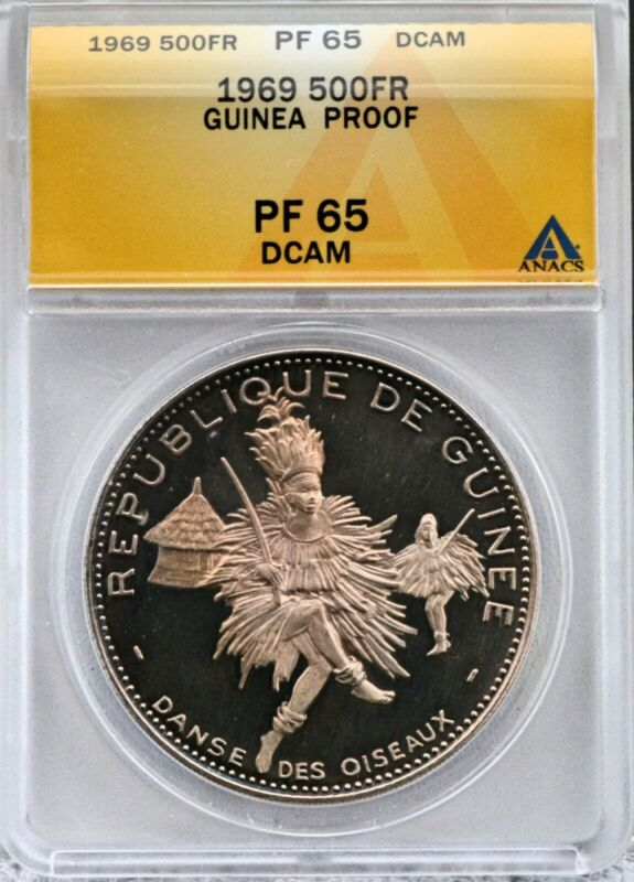 1969 Guinea 500 Francs Silver Proof 42mm African Dancer Coin ANACS PF 66 DCAM