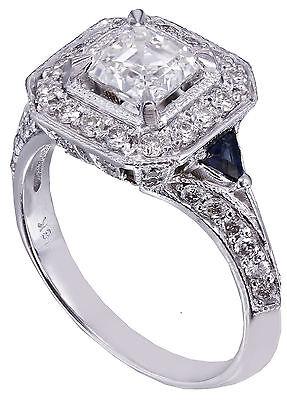 GIA F-VS2 18k White Gold Asscher Cut Diamond Engagement Deco Halo Ring 1.45ctw 9