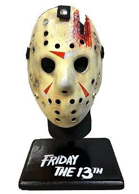 The W Halloween (FRIDAY THE 13th Jason Voorhees Custom Mask Stand W/ Display Head 🔪 HALLOWEEN)
