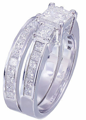 GIA H-VS2 14k white gold princess cut diamond engagement ring and band 2.00ctw 6