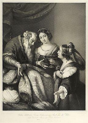 BERNARDO STROZZI - Esther bittet Ahasver - Lithografie von Hanfstaengl 1836