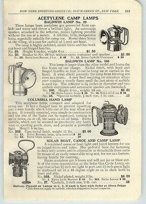 1916 PAPER AD Acetylene Camp Miners' Lamp Solar Boat Canoe Storm King - Solar Paper Lanterns