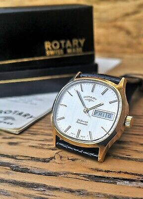 Vintage ROTARY Automatic Swiss 25 Jewel Calendar Men's Watch Boxed SUPERB