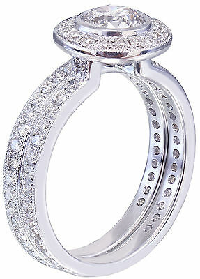 GIA H-VS2 18K White Gold Round Cut Diamond Engagement Ring and Band Bezel 1.55ct 4