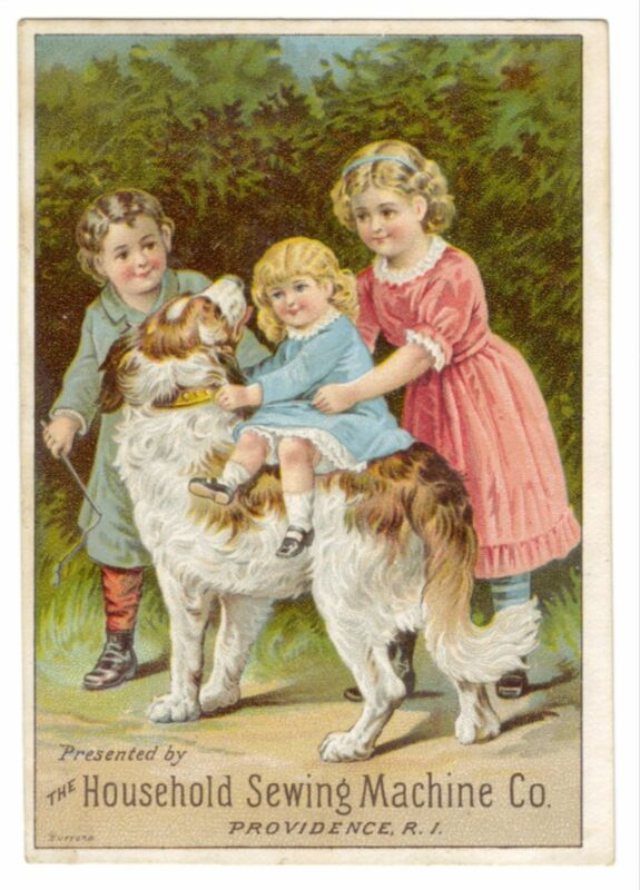 TRADE CARD HOUSEHOLD SEWING MACHINE CHILDREN WITH DOG