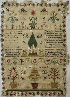 "LATE 18TH CENTURY MOTIF & ""UNIVERSAL PRAYER"" VERSE SAMPLER BY ANN CARR? -1792"