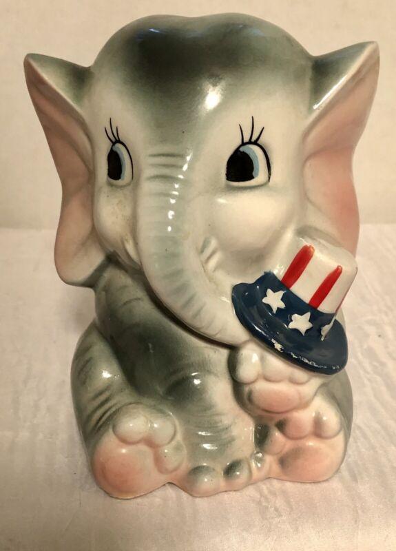 Elephant Vase Japan Holding Patriotic Hat Figurine Porcelain Vintage #5160 Used