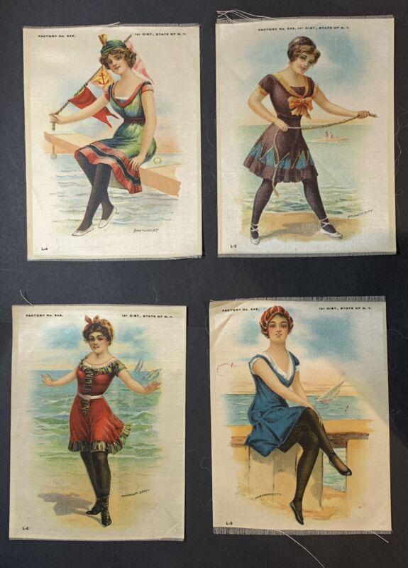 Vintage Bathing Beauty Tobacco Silk Factory #649 NY  4 x 6 - Lot of 4b Beaches