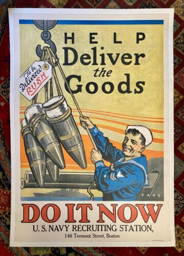 """Vintage WWI Navy Recruiting Poster """"Help Deliver the Goods"""" Linen Backed c1917"""