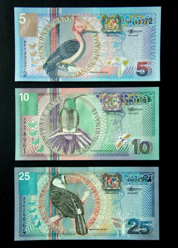 SURINAME MILLENNIUM BANKNOTE SET Year 2000 Gulden Bird Series Paper Money