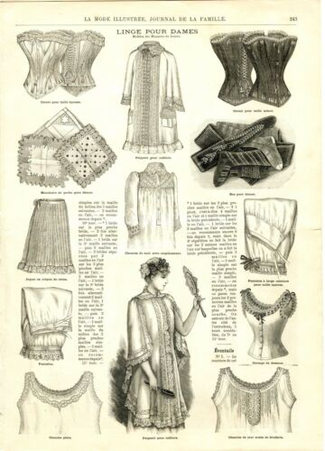 French MODE ILLUSTREE SEWING PATTERN August 2,1891 - Corset