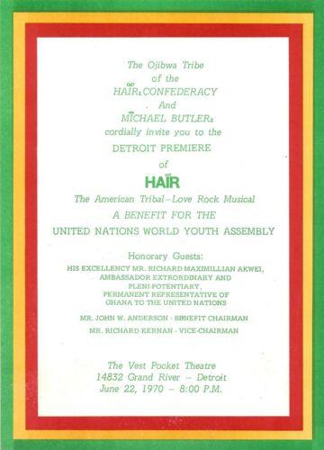 "Meat Loaf ""HAIR"" Gerome Ragni / James Rado 1970 Detroit Opening Night Invitation"