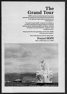 1972 PROJECT HOPE AD~S.S.HOPE SHIP BOAT~FLOATING MEDICAL CENTER GRAND TOUR~5 X 7 Deluxe Project Center