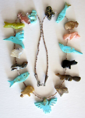 """Native American Fetish Necklace Turquoise & Marble Animals 28"""""""