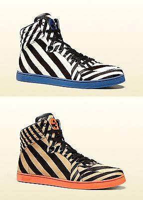 840f46ff7be  980 New Authentic Gucci Mens Zebra Print Calf Hair High-top Sneaker 353412