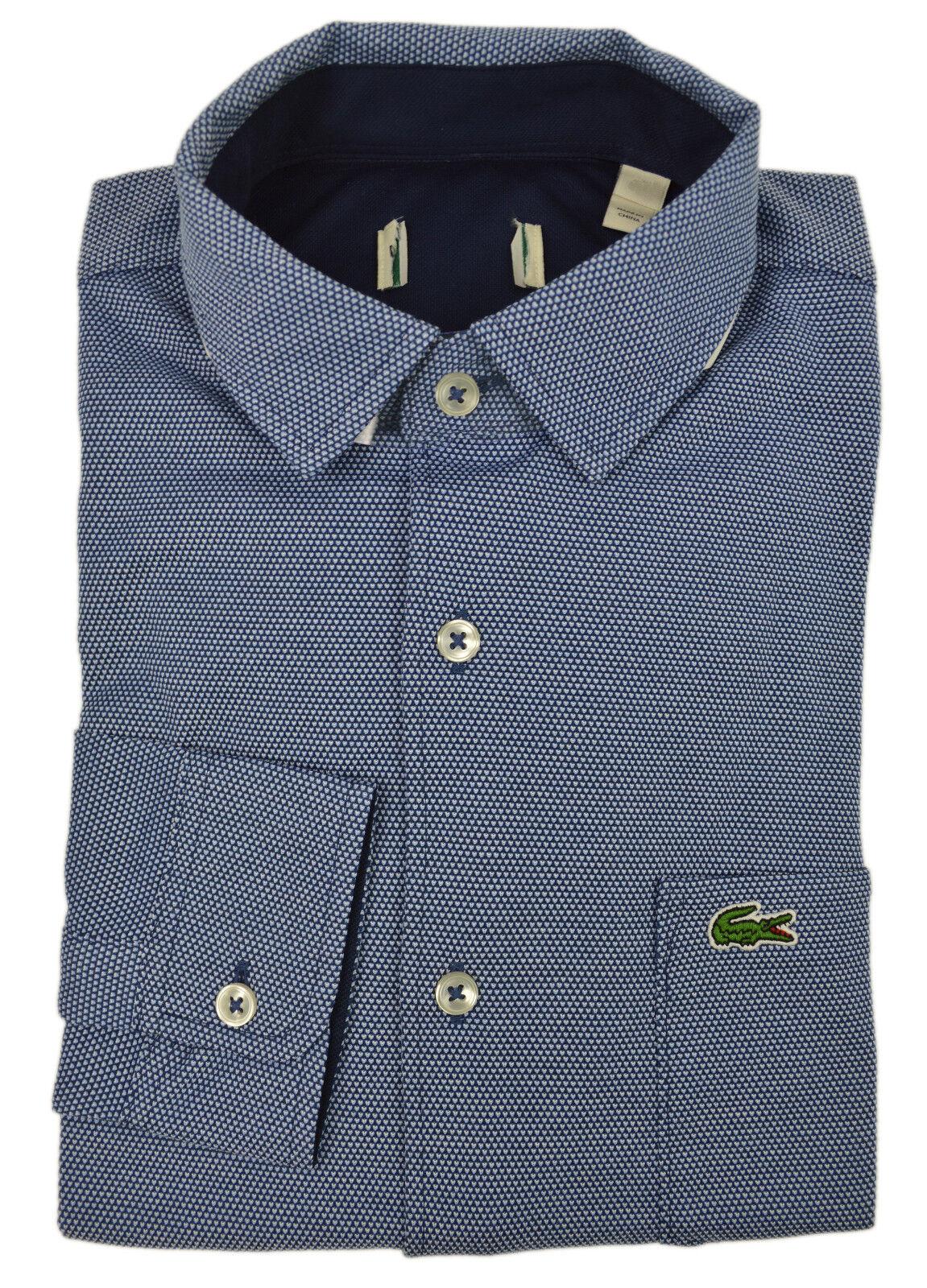 Lacoste NWD Mens Blue Textured Soft Knit Button Down Shirt Sz 40 Medium M