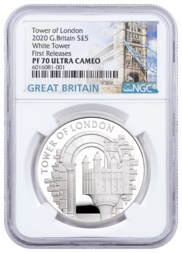 2020 Great Britain £5 Tower of London The White Tower Silver NGC PF70 UC FR