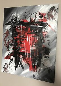 Red Black and Grey Acrylic 16 x 20 painting
