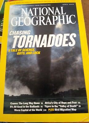 National Geographic April 2004 Tornadoes, Tigers, Cranes, Bird Migration map, VG