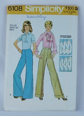 Simplicity Sewing Pattern 6108 Creased Straight & Wide leg Pants Size 20