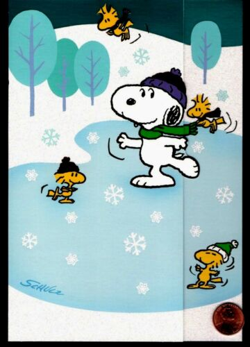 SCHULZ Christmas Snoopy Woodstock Charlie Brown Skating- GLITTERED GREETING Card