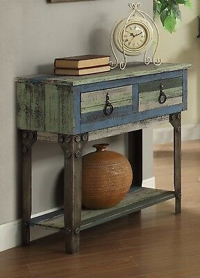 - Vintage Rustic Small Console Sofa Table Distressed 2 Drawer Wood Blue Gray Brown