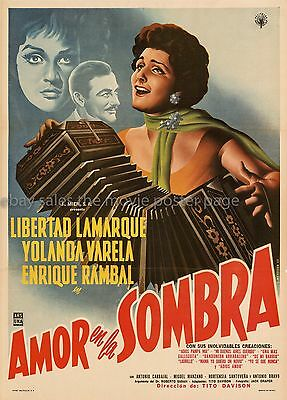 Love in the Shadow 1960 Libertad Lamarque Mexican one-sheet movie poster