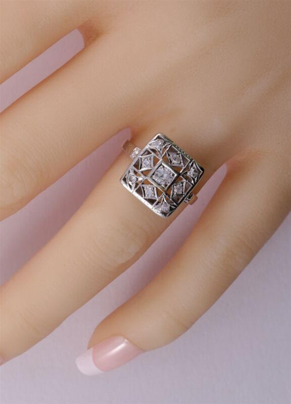Antique Art Deco 14K Eurocut Diamond Ring Circa 1920 Filigree Ring