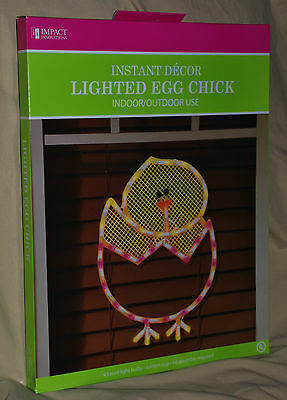 Chick in Easter Egg Lighted Light Window Decoration Indoor Outdoor Wall Hanging