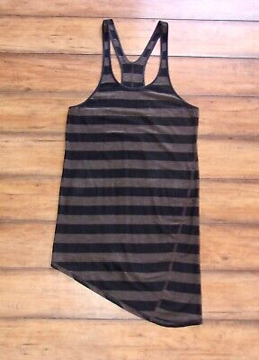 LULULEMON ~ Size 6 ~ COZY STRIPE TORQUE Asymmetrical Racerback Yoga Tank Shirt