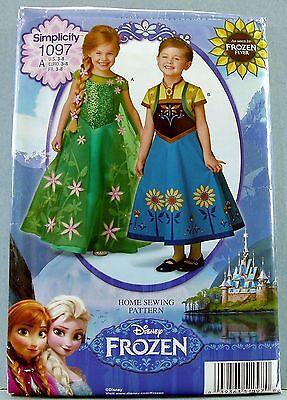 Simplicity Girls' Frozen Halloween Dress Costume Sewing Pattern 3,4,5,6,7,8 1097 - Frozen Halloween Costume Patterns