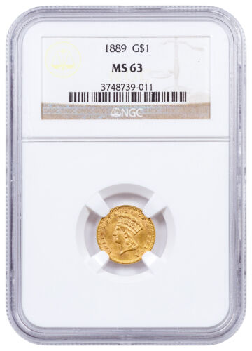 1889 $1 Gold Dollar Indian Head Design NGC MS63 Mint State 63