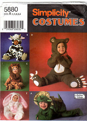 Simplicity 5880 Toddler Halloween Costume Pattern Bear Lion Bunny Dragon 1/2-4