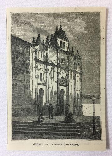 1880 magazine engraving~ CHURCH OF LA MERCED, Granada, Nicaragua
