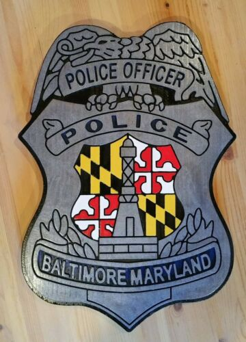 Police Baltimore  Sign routed wood carved patch sign Custom