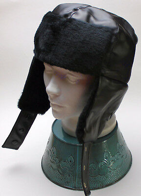 Black Aviator Hat (New Black Faux Leather Bomber Aviator Russian Winter Earflap Hat Trapper)