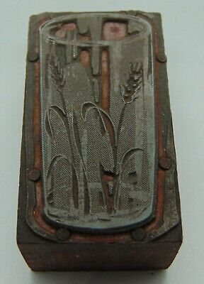 Vintage Printing Letterpress Printers Block Drinking Glass With Wheat Decoration
