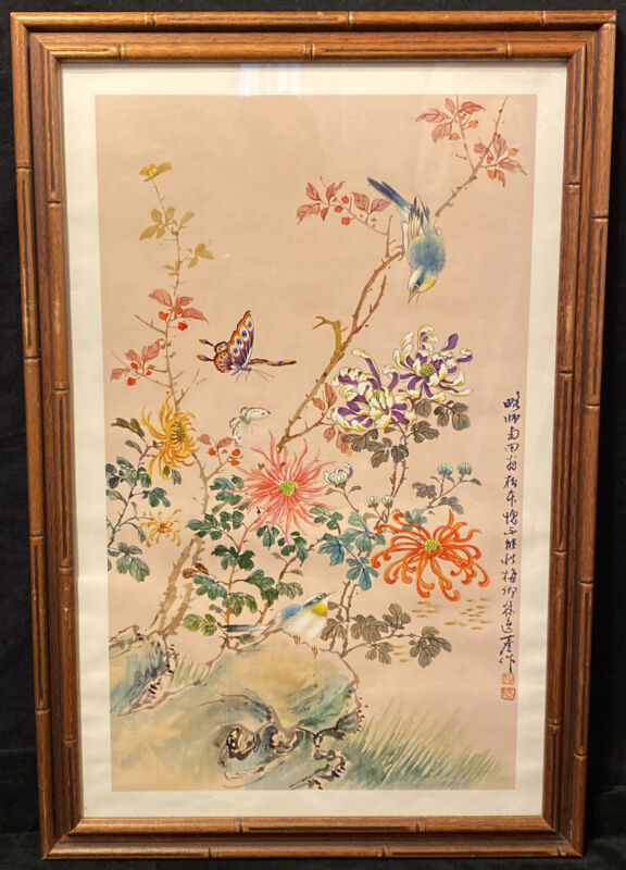 Vintage Chinese Painting PRINT Signed Red Chop Floral Butterflies Blue Bird
