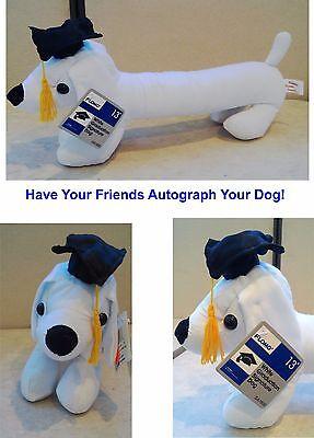 """13"""" Stuffed Graduation Autograph Dog Party Favor Congrats Grad w/Grad Cap   - Graduation Autograph Dog"""
