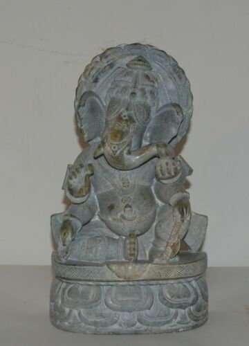 """Antique Lord Ganesh Hand Carved Gray Soapstone Lord Ganesh 10"""" Tall"""