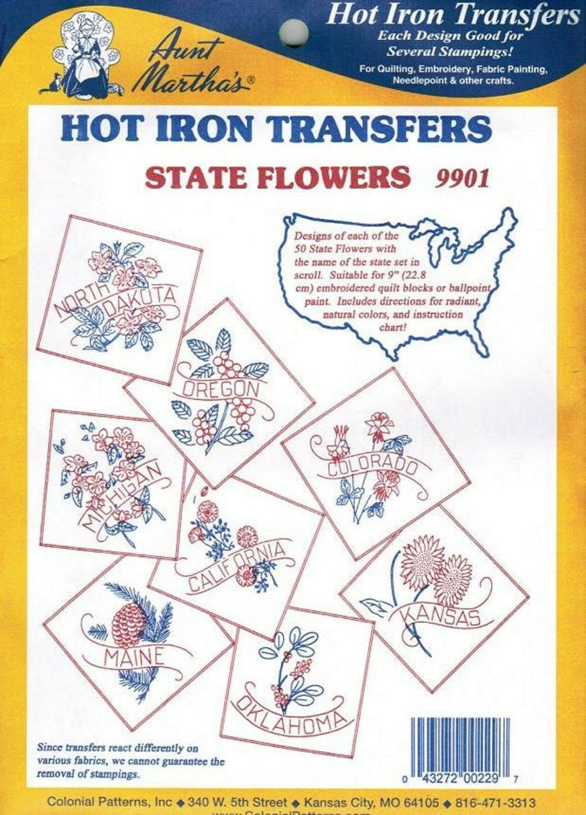 U s state flower aunt martha hot iron embroidery quilt