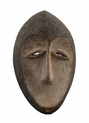 Miniature Mask Pasport African Lega DRC Wooden 14cm Art Primitive 16842